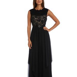 R & M Richards Sequined Lace Chiffon Gown Black